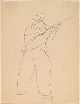 Boy Standing with Lute
