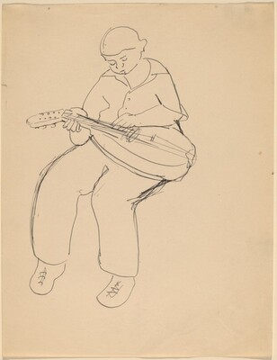 Young Boy Seated, Playing Lute