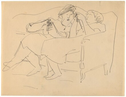 Two Women Leaning Back in Sofa, Knitting