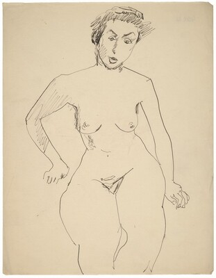 Frontal Nude Seated, Arms at Side