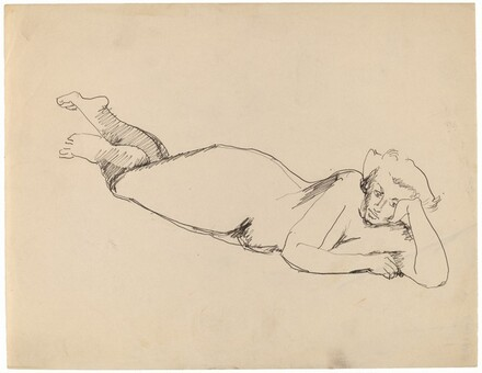 Nude Reclining to the Right, Head Propped on Left Hand