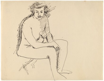 Nude Seated on Folding Stool, Turned to the Right