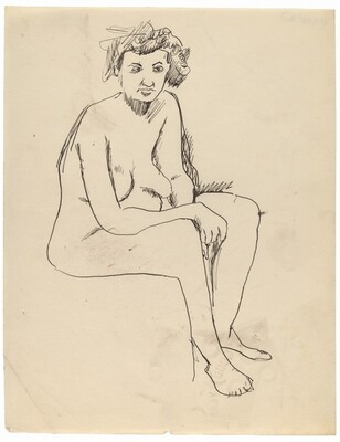 Seated Nude Turned to the Right, Arms Resting on Thighs