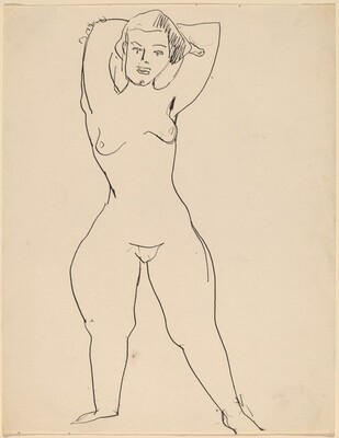 Frontal Nude Standing, Arms Raised and Folded behind Head