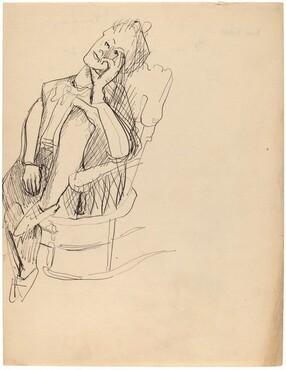 Woman in Rocker, Left Leg on Seat, Head Tilted Sideways [recto]