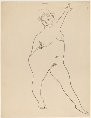 Frontal Nude Standing with Left Arm Raised High
