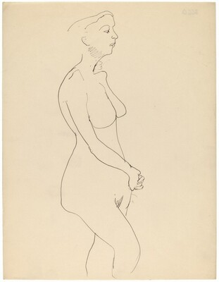 Side View of Standing Nude, Turned to the Right, Hands Folded in Front
