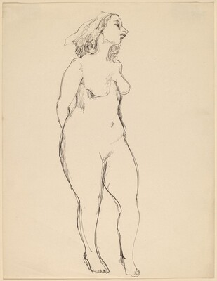 Standing Nude, Three-quarter View to the Right, Hands behind Back