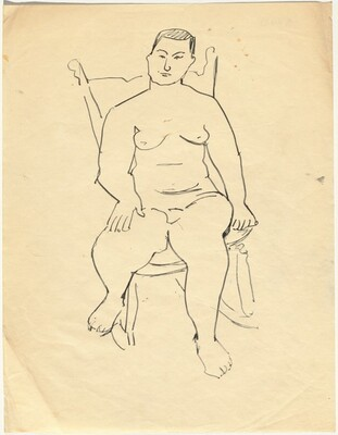 Frontal Nude Seated in a Rocker, Right Hand on Leg