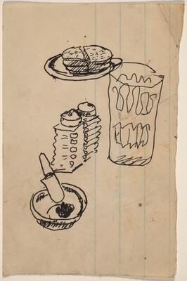 Still Life with Sandwich, Glass, Salt & Pepper Shakers