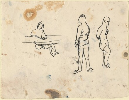 Three Figures: Two Standing, One Seated