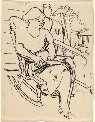 Woman Seated in a Rocker Outdoors, Reading