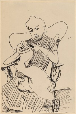 Woman Seated in a Rocker, Sewing