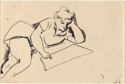 Woman Reclining on Floor, Pointing at Paper