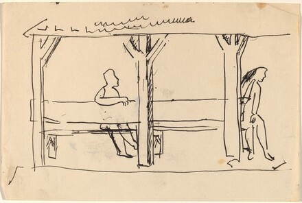 Two Figures under Cover, Outdoors