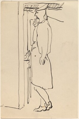 Woman with Hat Standing in an Interior, Turned to the Left