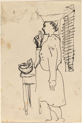 Woman Turned to the Right, Standing before a Table with a Bowl of Fruit