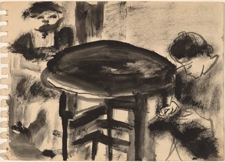 Two Women Seated at Round Table [recto]