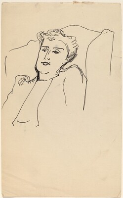 Bust Length Portrait of Woman in Arm Chair