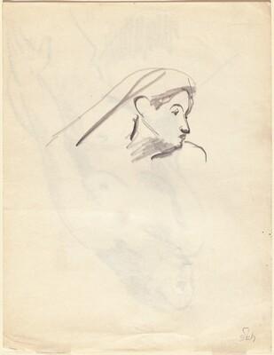 Study of Head Facing Right [verso]