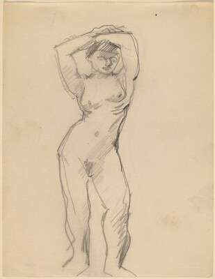 Female Nude Standing with Arms Above Head