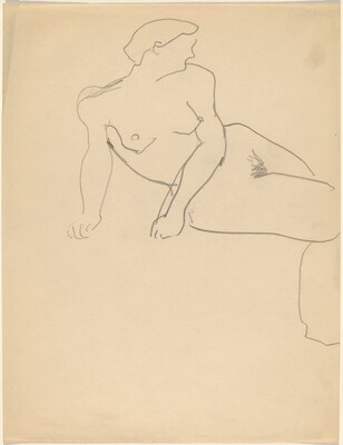 Seated Female Nude, Torso Twisted to Right, Leaning on Fists