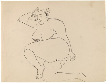 Reclining Female Nude, Legs Bent, Head Leaning on Right Hand