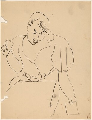 Woman Seated with Pad in Lap and Holding Paper in Each Hand