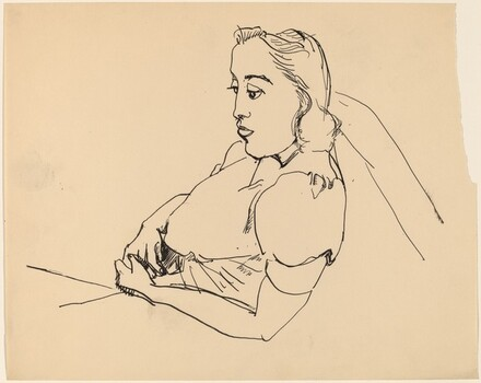 Half-Length Woman Reclining, Looking Right