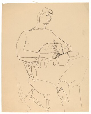 Woman Seated on Rocking Chair with Puppy in Lap