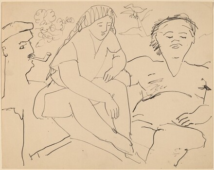 Three Figures, One Smoking a Pipe