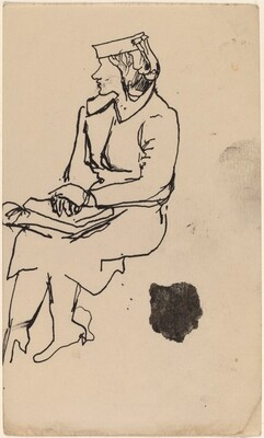 Seated Woman in Profile with Hands Clasped in Lap