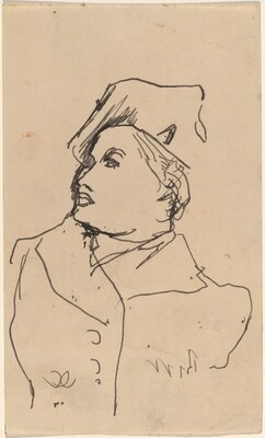Bust of Woman with Hat, Face in Profile to Right