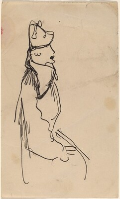 Seated Woman in Hat, Facing Left in Profile
