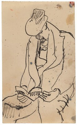 Seated Man in Overcoat and Hat Reading Book in Lap