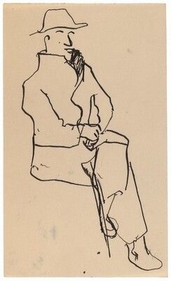 Seated Man in Coat and Hat, Legs and Hands Crossed