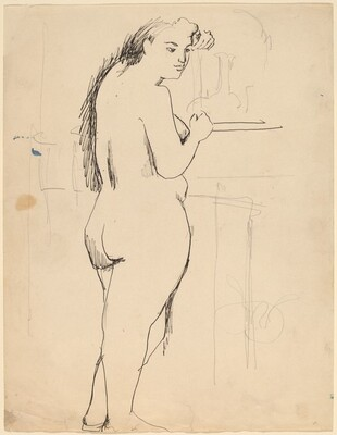 Standing Female Nude, Back Turned, Looking to Right