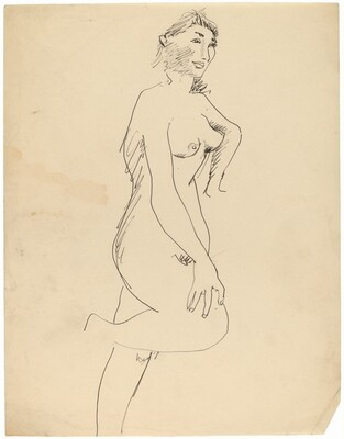 Standing Female Nude, Right Knee and Left Arm Bent, Three-quarters View to Right