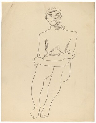 Seated Female Nude, Crossed Arms Resting on Knees