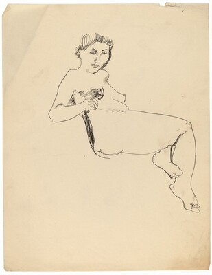 Reclining Female Nude, Right Hand Resting on Stomach, Left Foot Tucked Under Right Knee