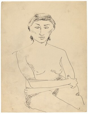Seated Female Nude, Half-Length, Arms Folded, Right Hand Holding Left Elbow