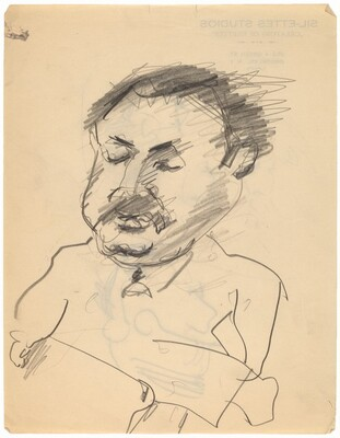 Caricature Head of Man with Mustache [recto]