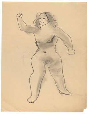 Standing Female Nude, Feet Apart, Right Arm Raised in Fist