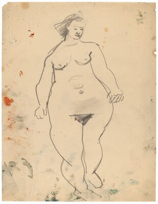 Standing Female Nude, Eyes Cast Down to Left