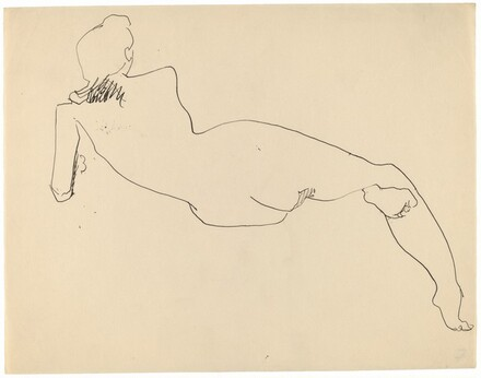 Rear View of Reclining Female Nude, Leaning on Left Elbow