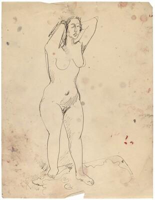 Female Nude Standing on Carpet, Hands Behind Head