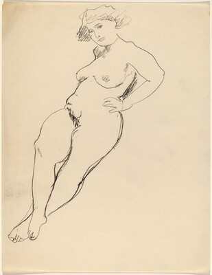 Reclining Female Nude, Ankles Crossed, Hands on Hips