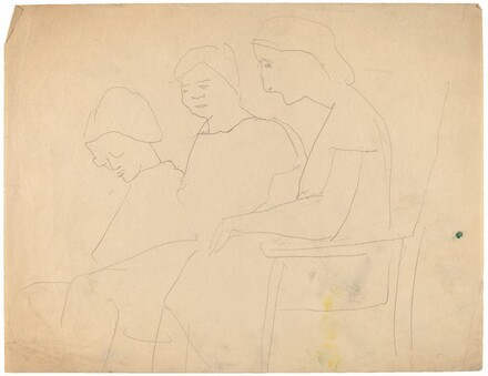 Three Women Seated on a Bench