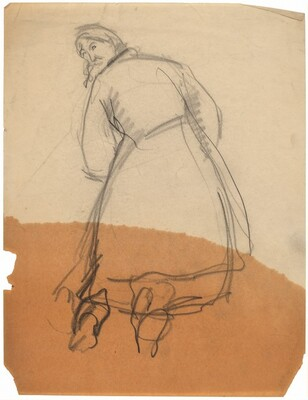 Figure in Coat Seen from Behind, Looking Back to Left