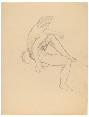 Seated Female Nude Facing Right, Head Turned Left